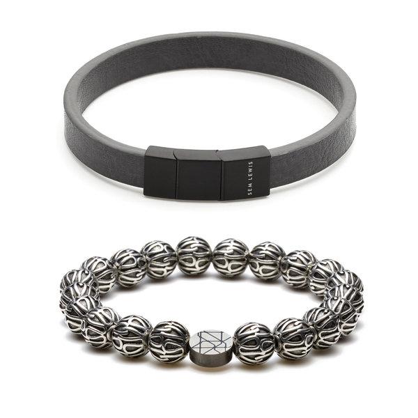 Sem Lewis Sem's Present leren armband met kralenarmband grijs