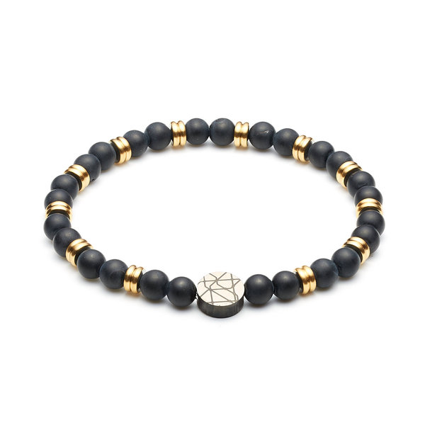 Sem Lewis Piccadilly South Kensington beaded bracelet black and gold colored