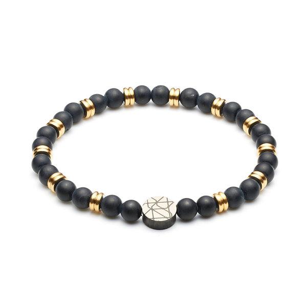 Sem Lewis Piccadilly South Kensington braccialetto di perline nero e color oro