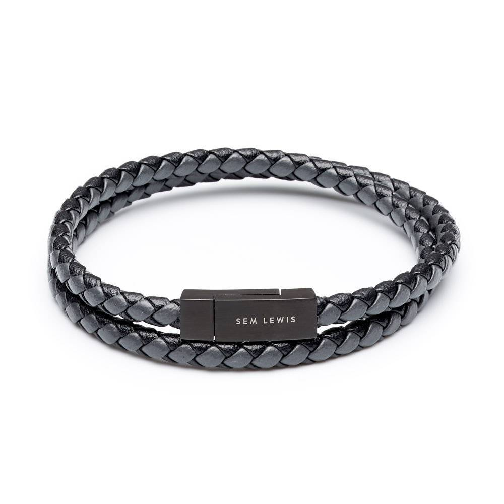 Bakerloo Charing Cross leather bracelet black/grey size M