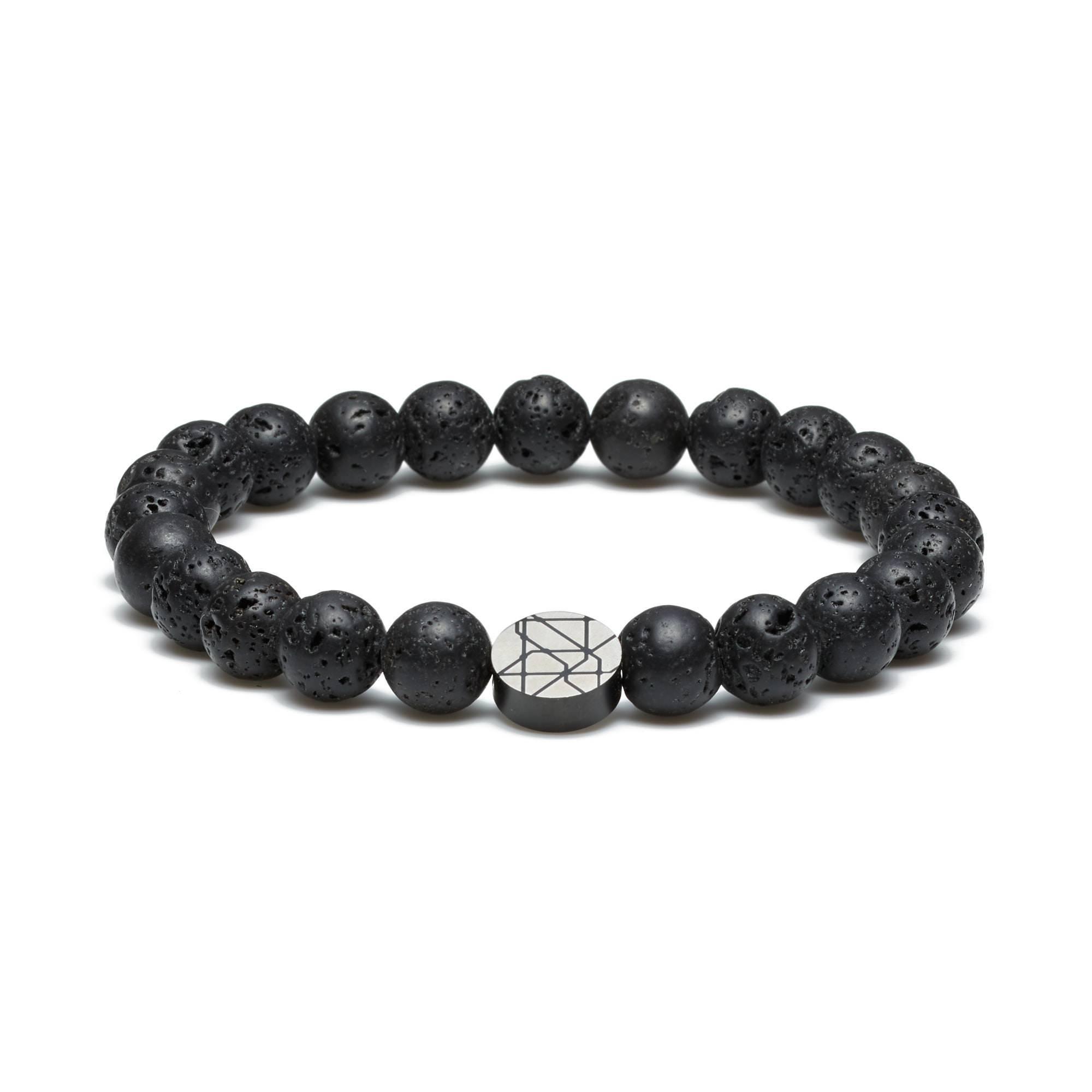 Bakerloo Charing Cross leather bracelet black/grey size M