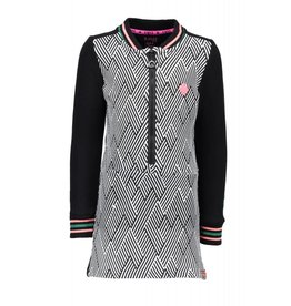 B.Nosy B.Nosy meisjes jurk Strip AO Black Marshmallow