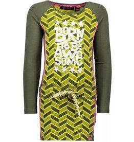 B.Nosy B.Nosy meisjes jurk Herringbone AO Canary Crocodile