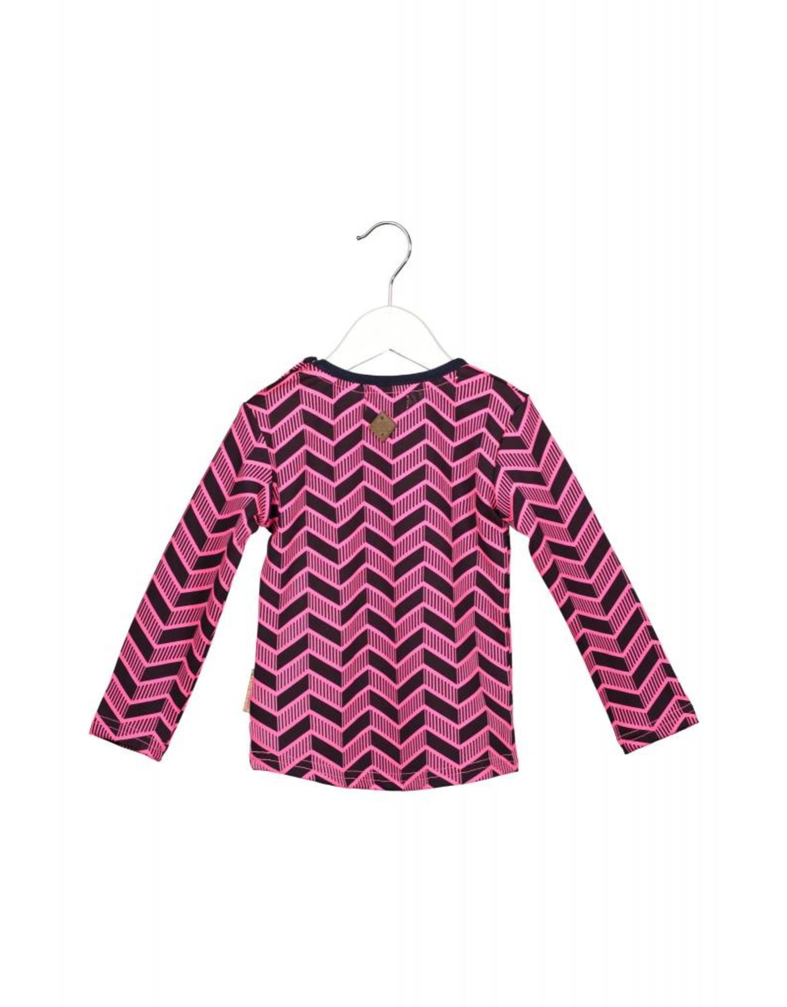 B.Nosy B.Nosy baby meisjes shirt Herringbone AO Neon Magenta