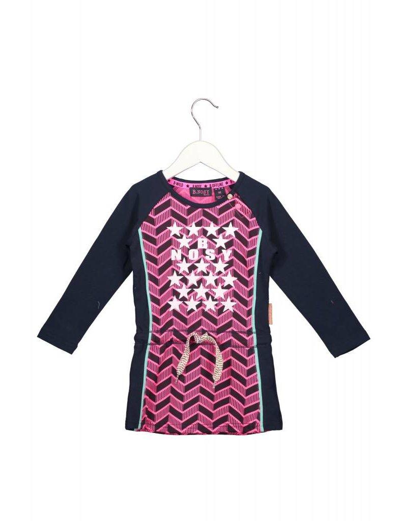 B.Nosy B.Nosy baby meisjes jurk Herringbone AO Neon Magenta