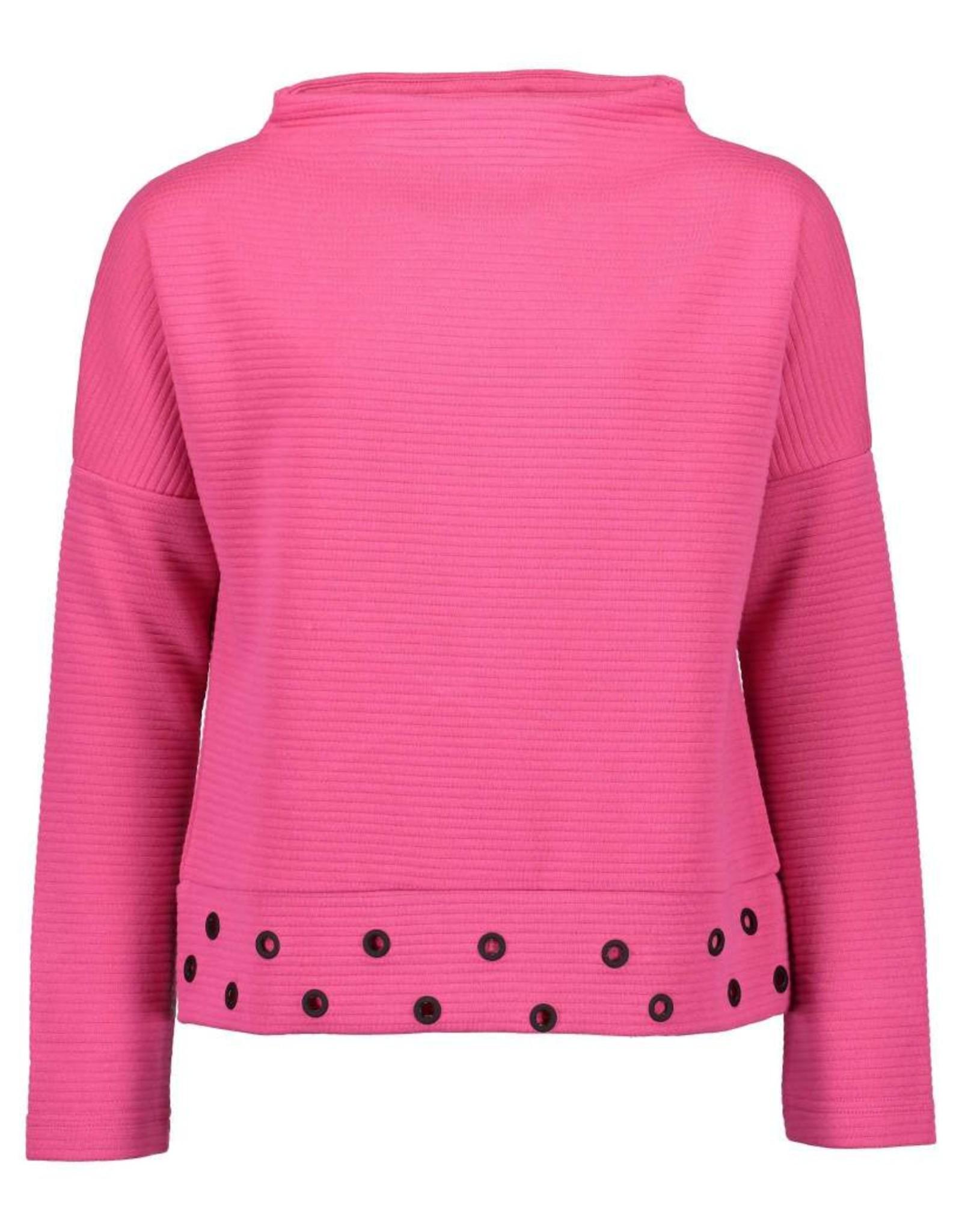 Blue Seven Blue Seven meiden trui met hoge kraag en drukkers Pink