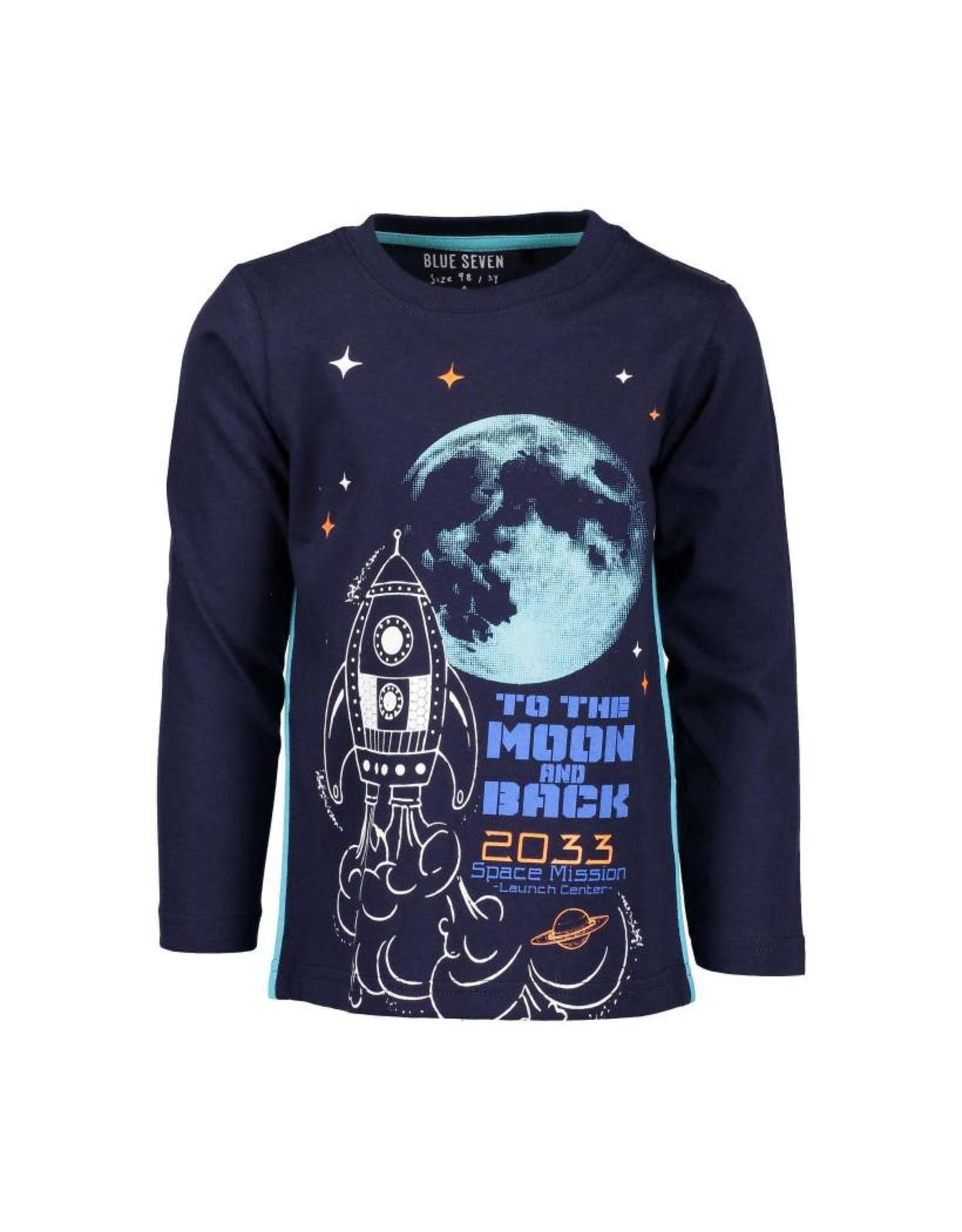 Blue Seven Blue Seven jongens glow in the dark shirt Moon and Back