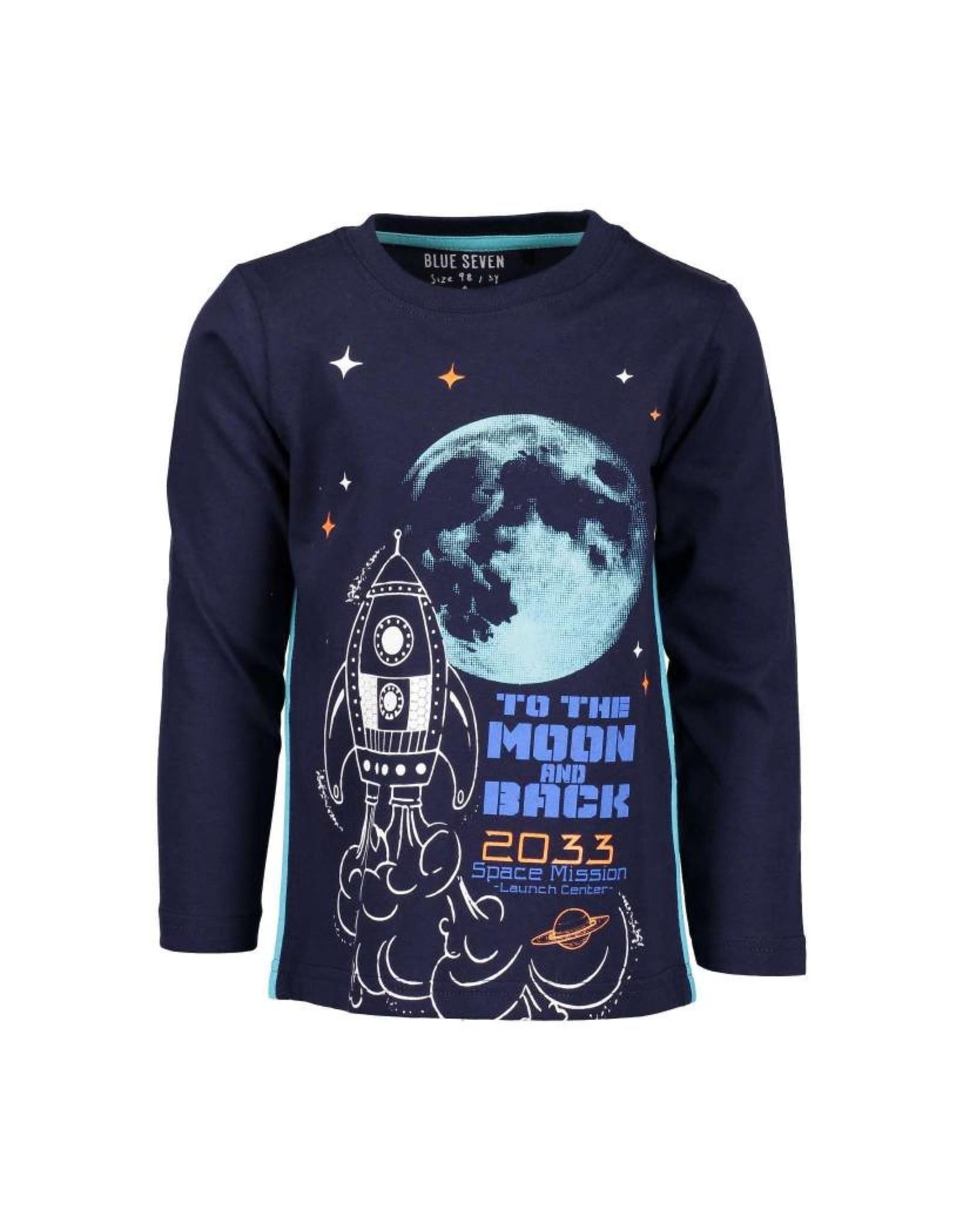 Blue Seven Blue Seven jongens glow in the dark shirt Moon and Back