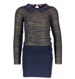 B.Nosy B.Nosy meisjes jurk with aop foil top part, interlock skirt part