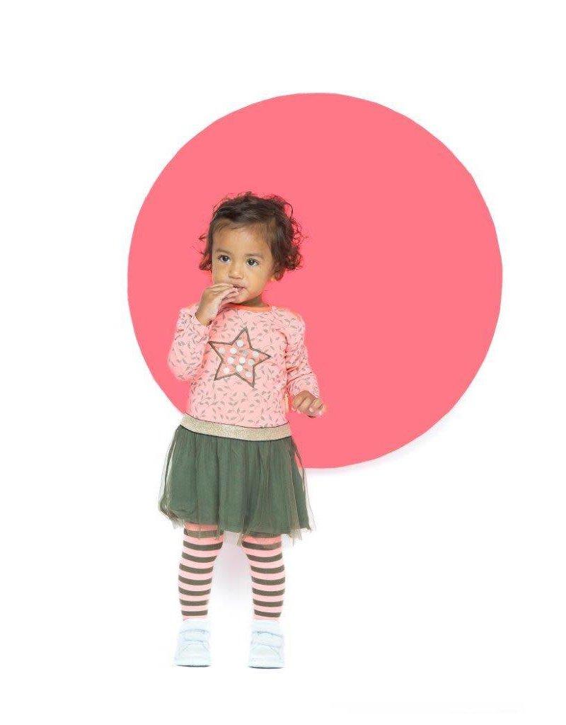 B.Nosy B.Nosy baby meisjes jurk leaf AO light red
