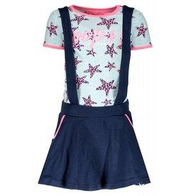 B.Nosy B.Nosy meisjes jurk met panter sterren en rok met bretels
