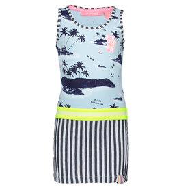 B.Nosy B.Nosy meisjes jurk met palmbomen en gestreepte rok