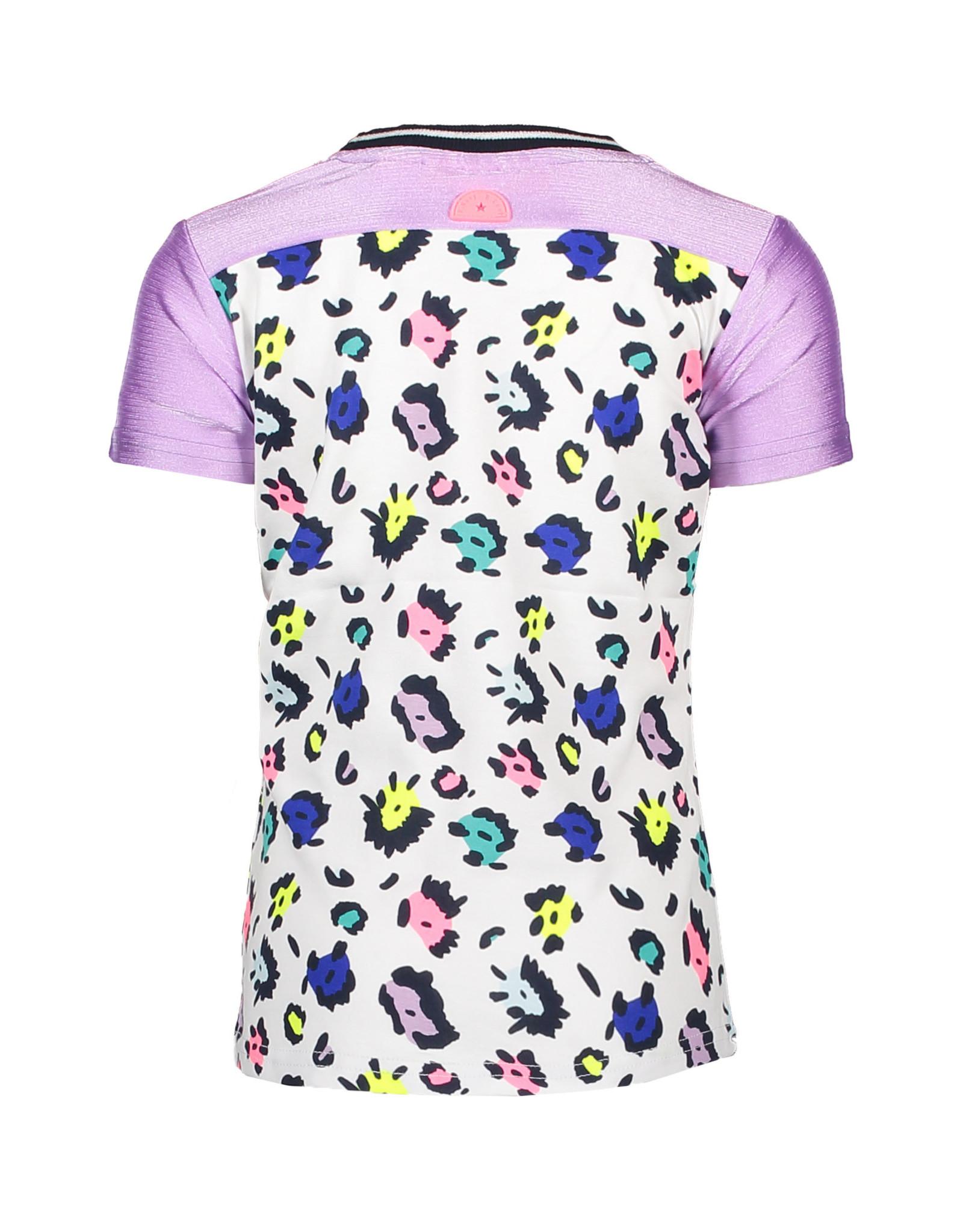 B.Nosy B.Nosy meisjes t-shirt met gekleurde pantervlekken