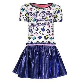 B.Nosy B.Nosy meisjes jurk met pantervlekken en glimmende rok