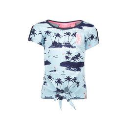 B.Nosy B.Nosy meisjes t-shirt met knoop en een palmbomen print
