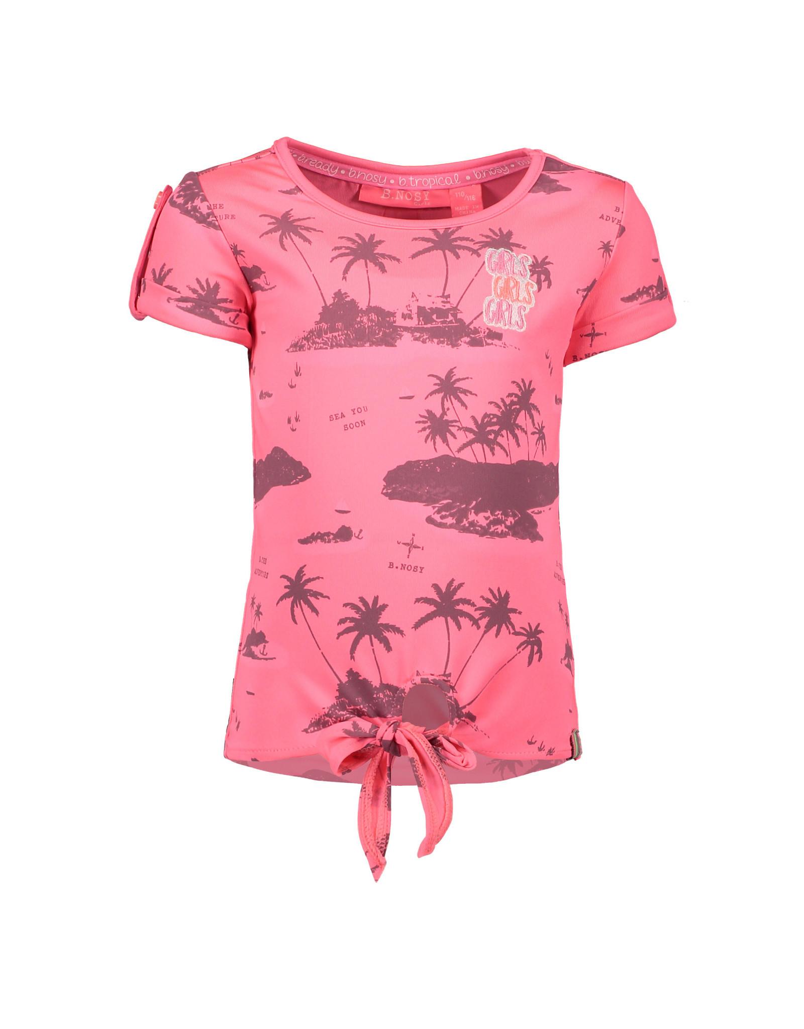 B.Nosy B.Nosy meisjes knoop t-shirt met palmbomen