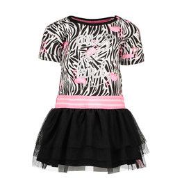 B.Nosy B.Nosy baby meisjes jurk met flamingo print