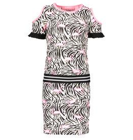 B.Nosy B.Nosy meisjes jurk met open schouders en flamingo print
