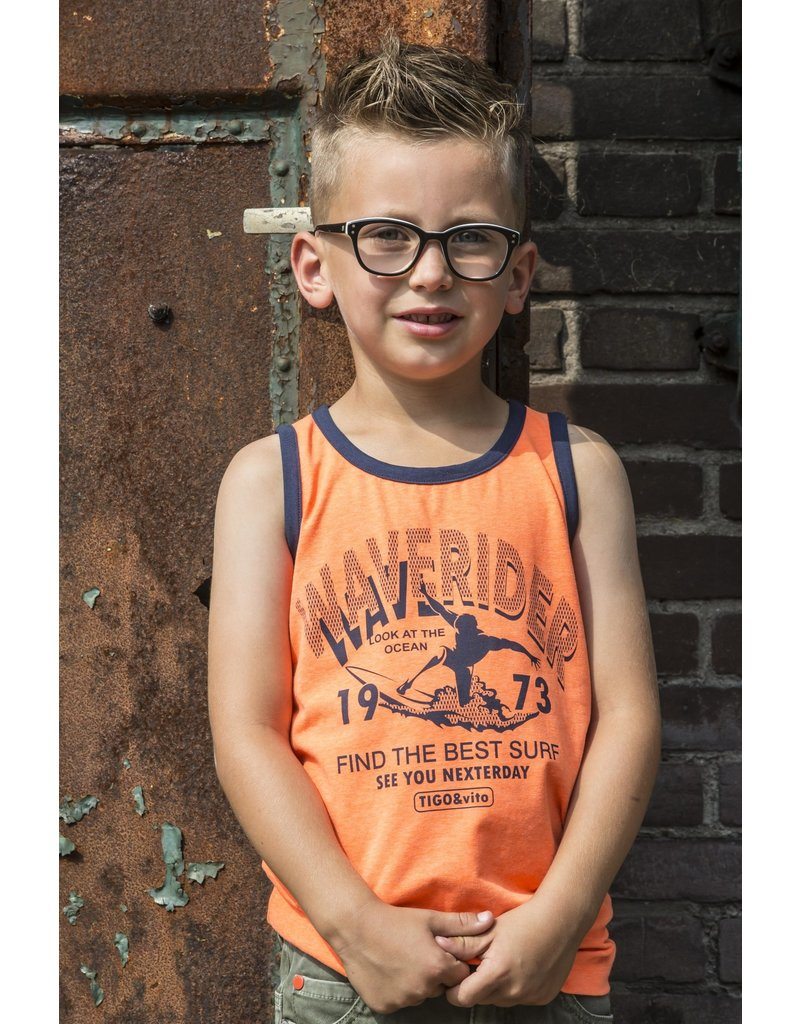 TYGO & vito TYGO & vito jongens hemd Waverider Shocking Orange
