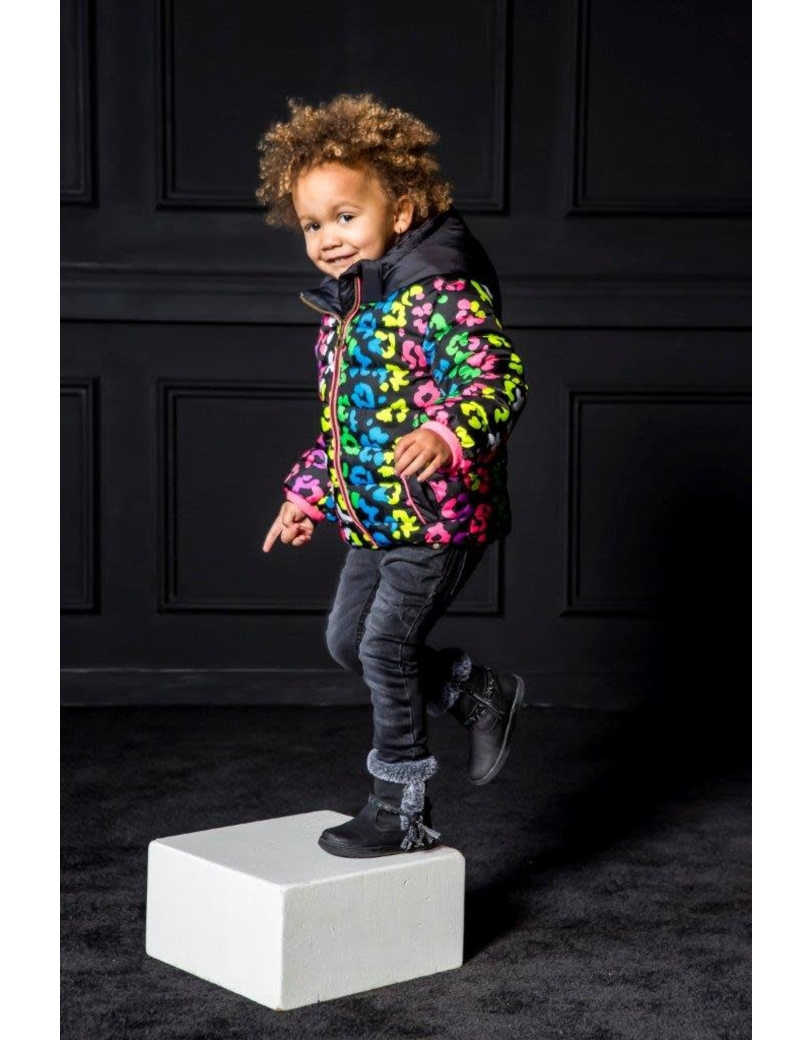 B.Nosy B.Nosy meisjes winterjas met multi color panter print