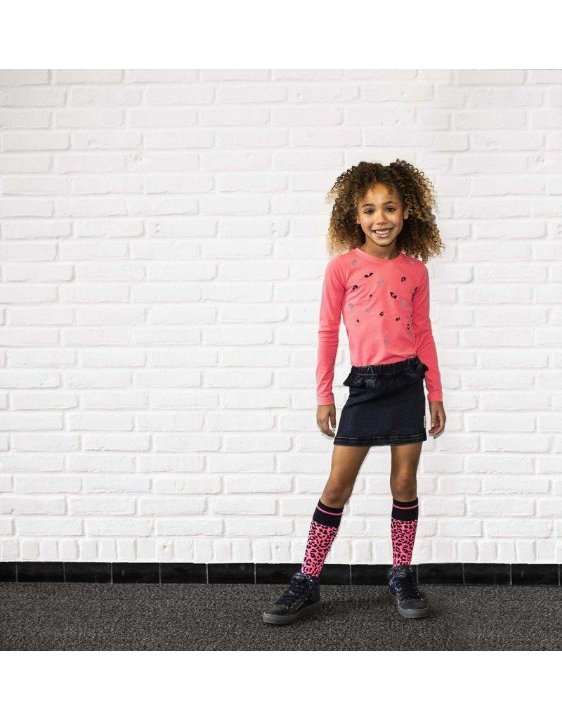 B.Nosy B.Nosy meisjes shirt met borduursel pink
