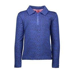 B.Nosy B.Nosy meisjes polo shirt met rits met panterprint