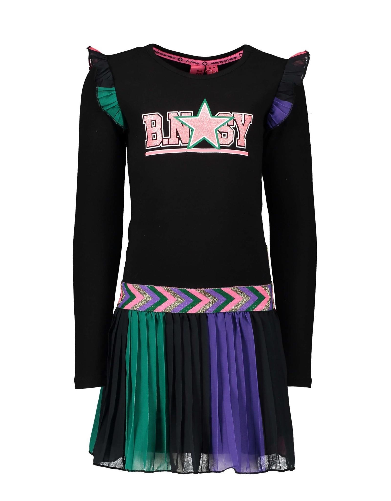 B.Nosy B.Nosy meisjejs jurk met geweven verticale geprinte streeprok