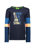 B.Nosy B.Nosy jongens shirt BORN TO BE AWESOME Blue