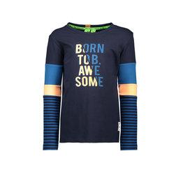 B.Nosy B.Nosy jongens shirt BORN TO BE AWESOME Blue