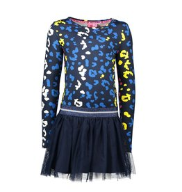 B.Nosy B.Nosy meisjes jurk met tulerok en panterprint