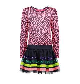 B.Nosy B.Nosy meisjes jurk met zebraprint en tulerok met lovertjes