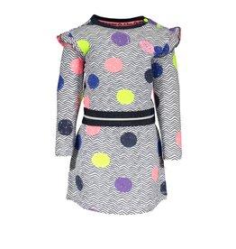 B.Nosy B.Nosy baby meisjes jurk met ao print en dots