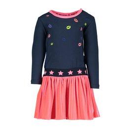 B.Nosy B.Nosy baby meisjes jurk met fluwelen rok en kusjes