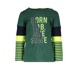 B.Nosy B.Nosy baby jongens shirt BORN TO BE AWESOME met strepen op de mouwen