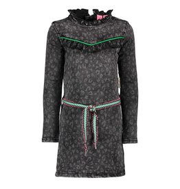 B.Nosy B.Nosy meisjes denim jurk met panterprint