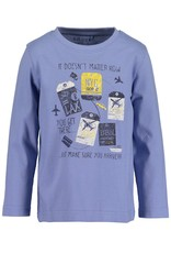 Blue Seven Blue Seven jongens shirt LET'S TRAVEL blauw