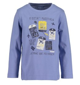 Blue Seven Blue Seven jongens shirt LET'S TRAVEL blauw