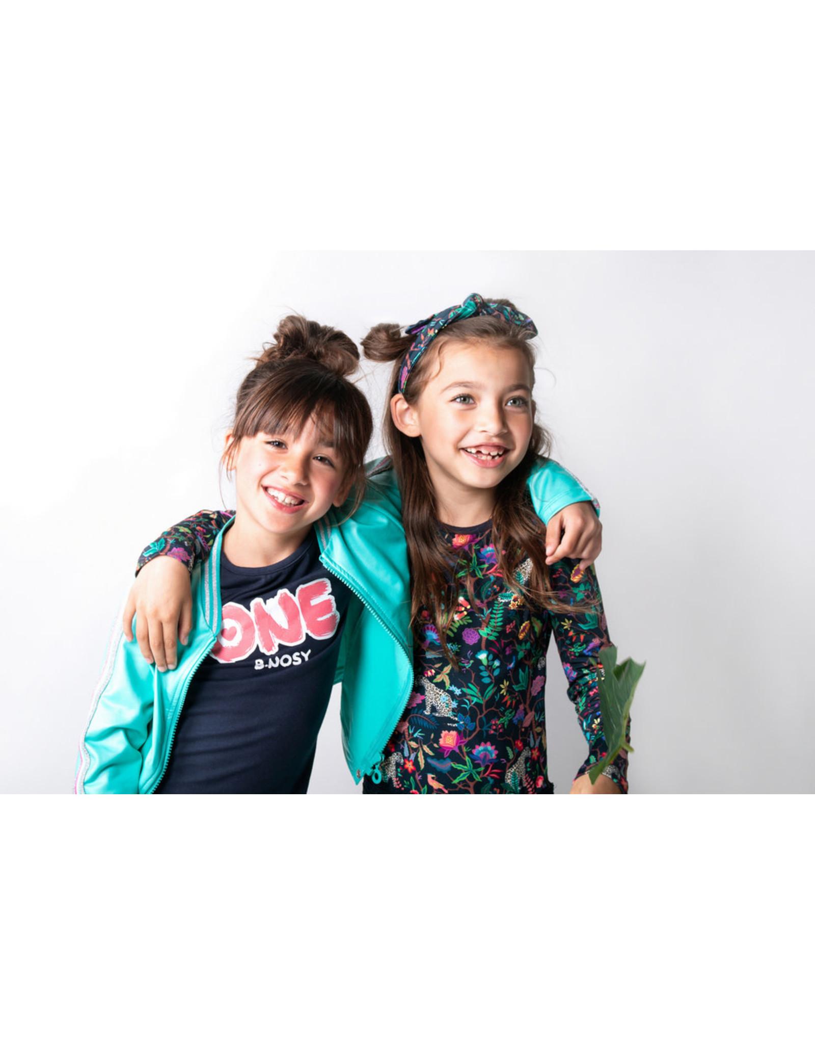 B.Nosy B.Nosy meisjes t-shirt met glitter strepen op de acherkant