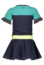 B.Nosy B.Nosy meisjes korte mouwen jurk met roeselmouwtjes Oxford Blue