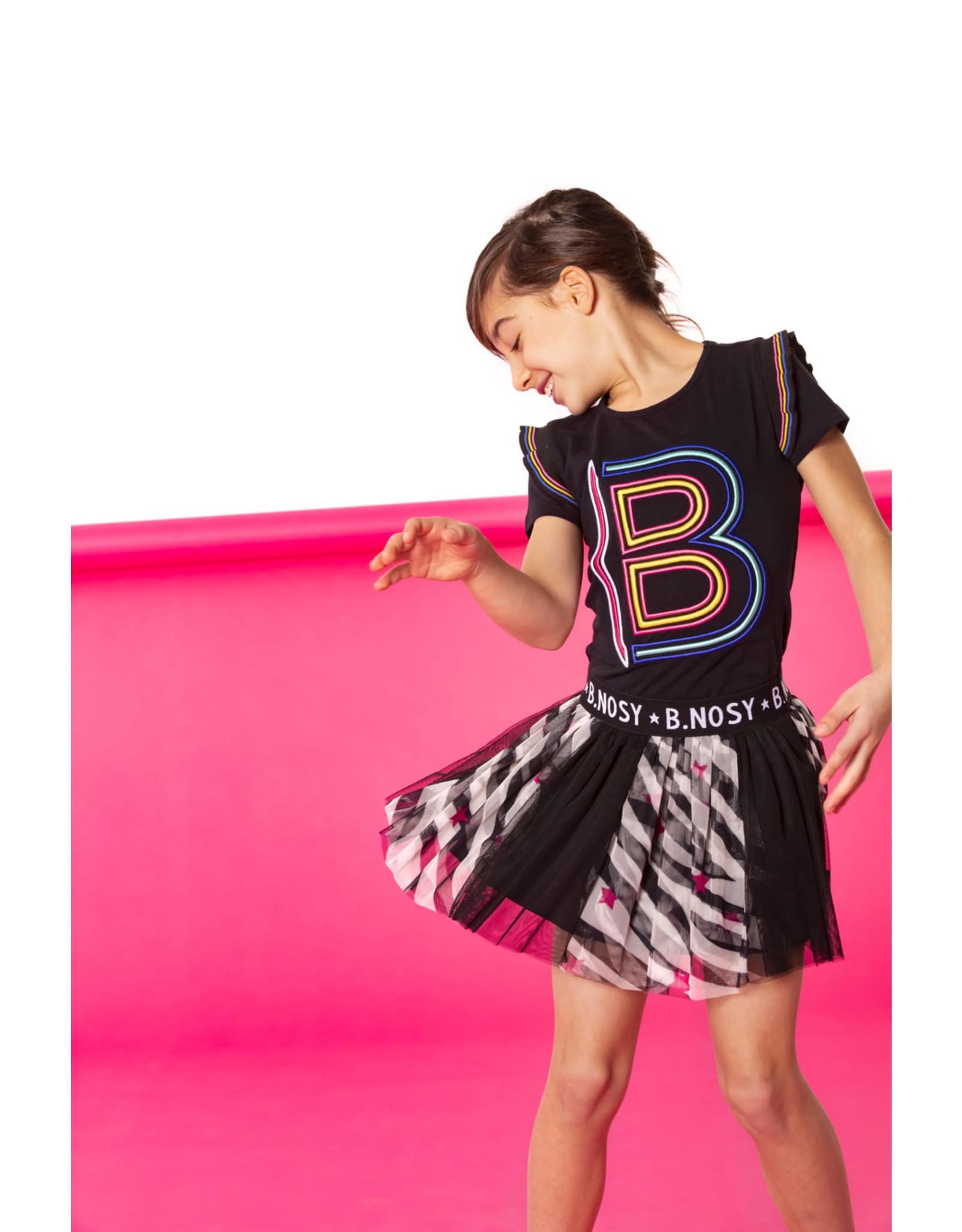 B.Nosy B.Nosy meisjes t-shirt met roesels en letter B Black