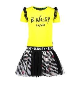 B.Nosy B.Nosy meisjes jurk met tullerok en rouches op de mouwen