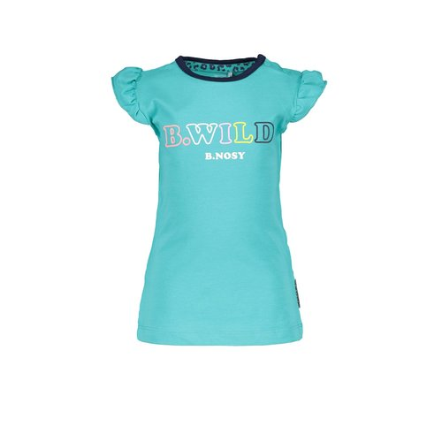 B.Nosy B.Nosy baby meisjes t-shirt met rouches aan de mouwen Ceramic