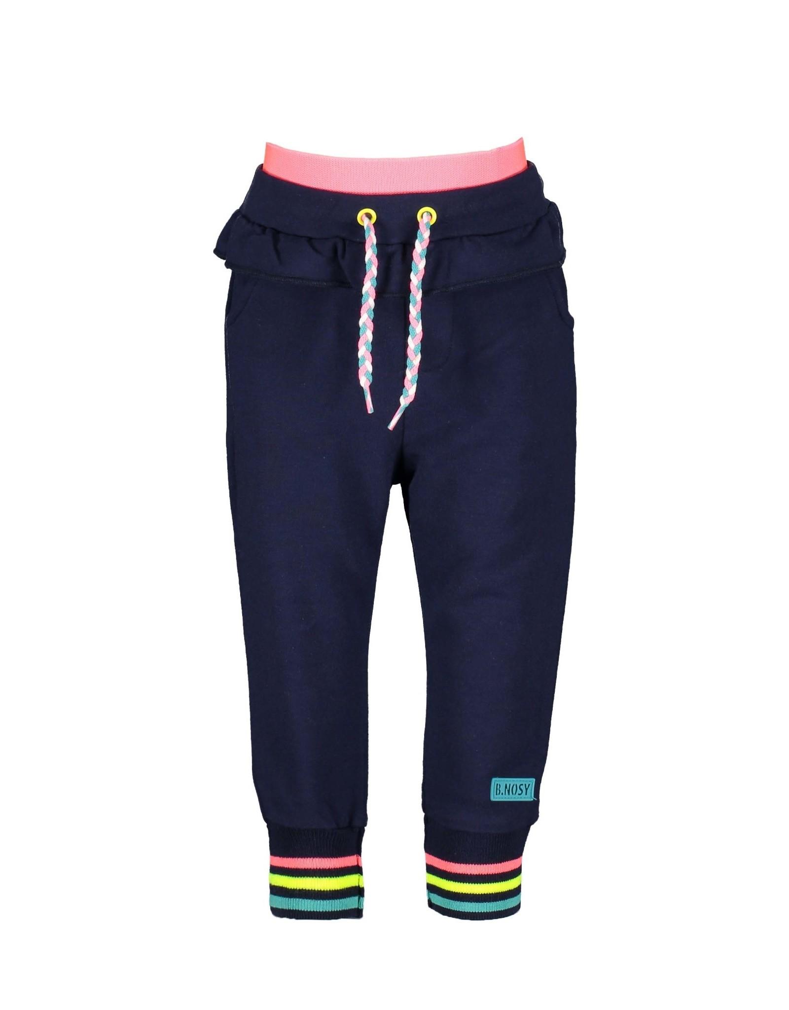 B.Nosy B.Nosy baby meisjes joggingbroek met ruche space blue