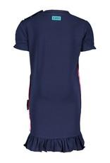 B.Nosy B.Nosy baby meisjes jurk met rouches aan deonderkant Space Blue