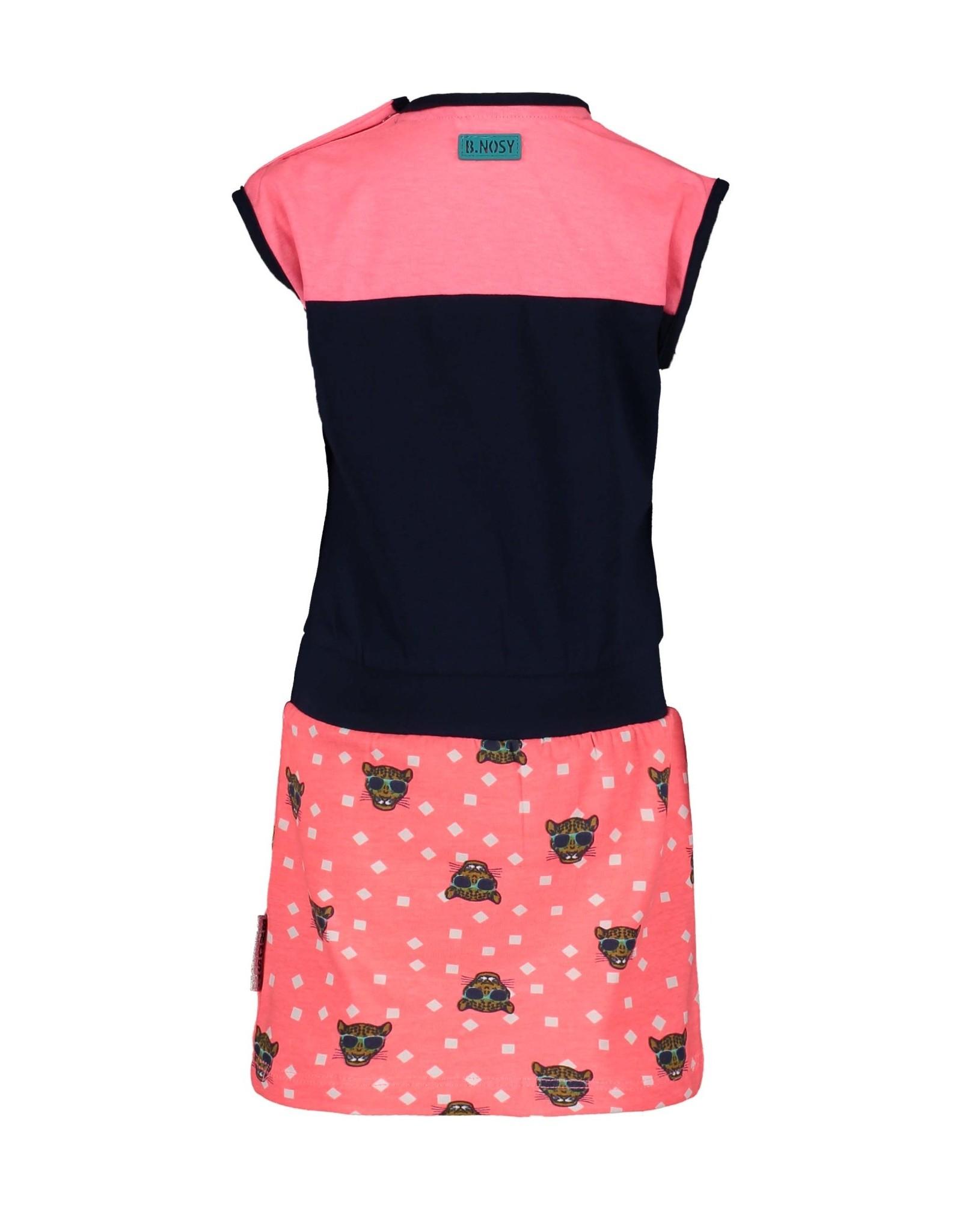 B.Nosy B.Nosy baby meisjes jurk met tijgertjes op het rokje