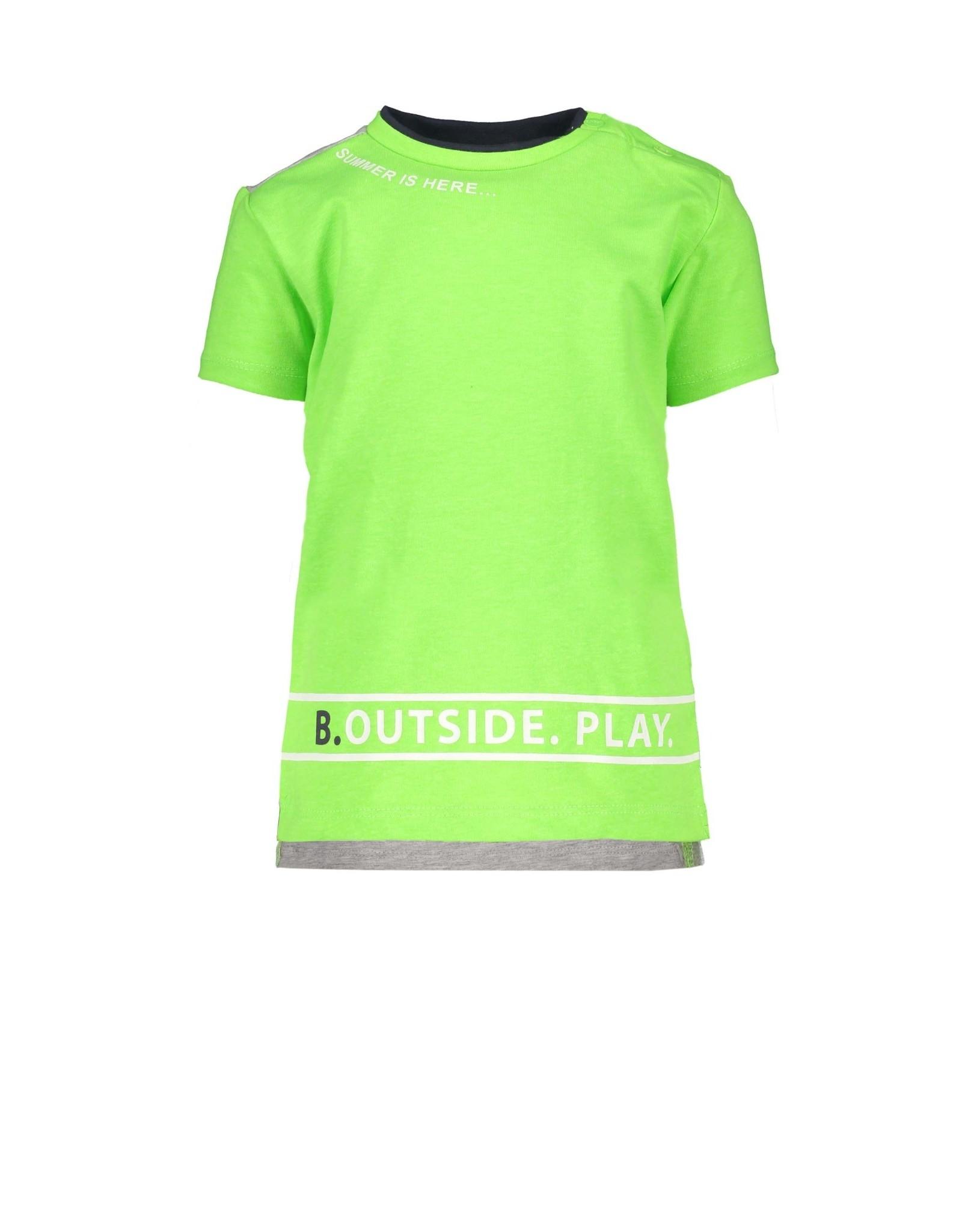 B.Nosy B.Nosy baby jongens t-shirt met tekst aan de onderkant Gecko Green
