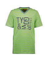 TYGO & vito TYGO & vito jongens gestreept t-shirt met logo Yellow