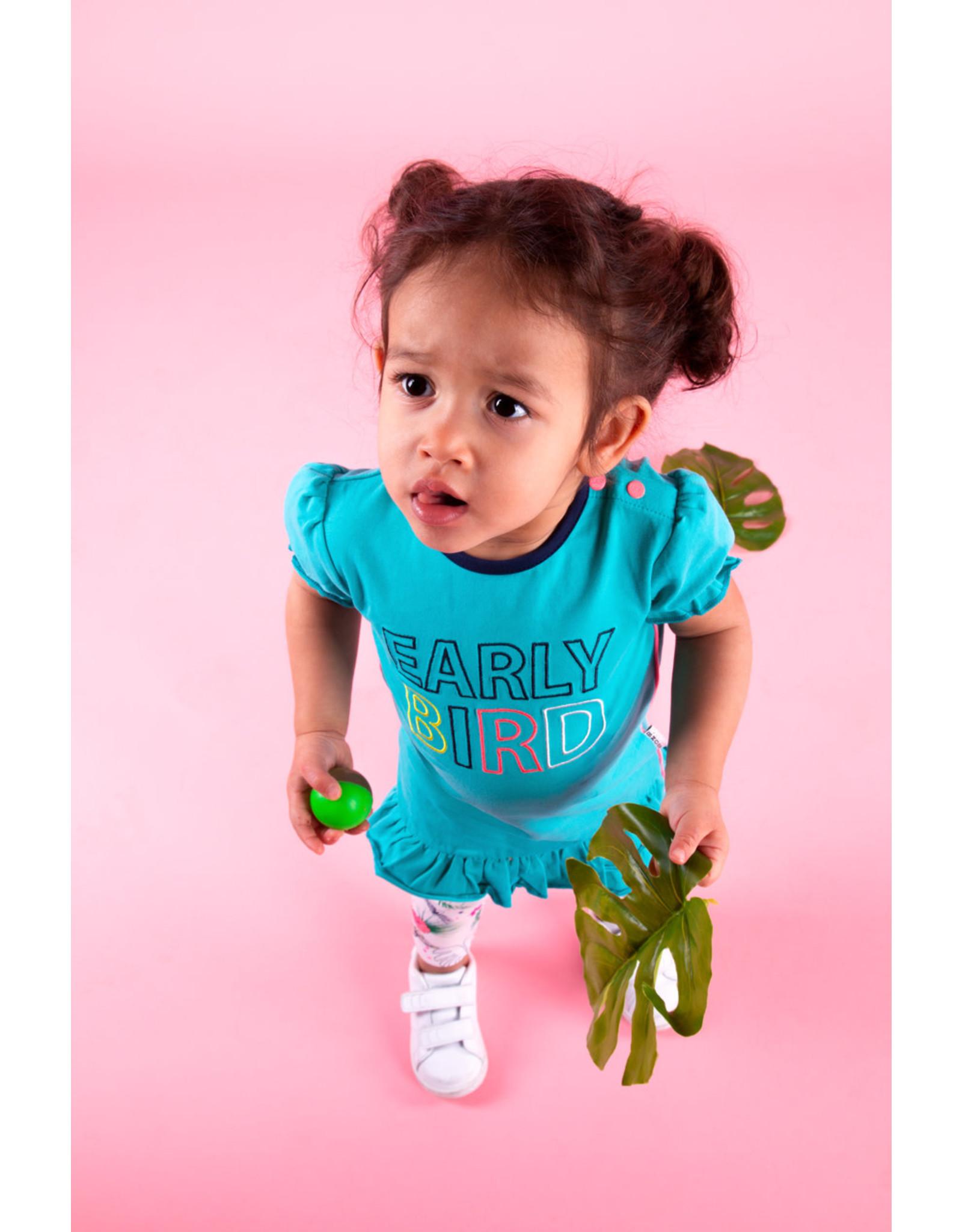 B.Nosy B.Nosy baby meisjes korte mouwen jurk Early Bird Ceramic