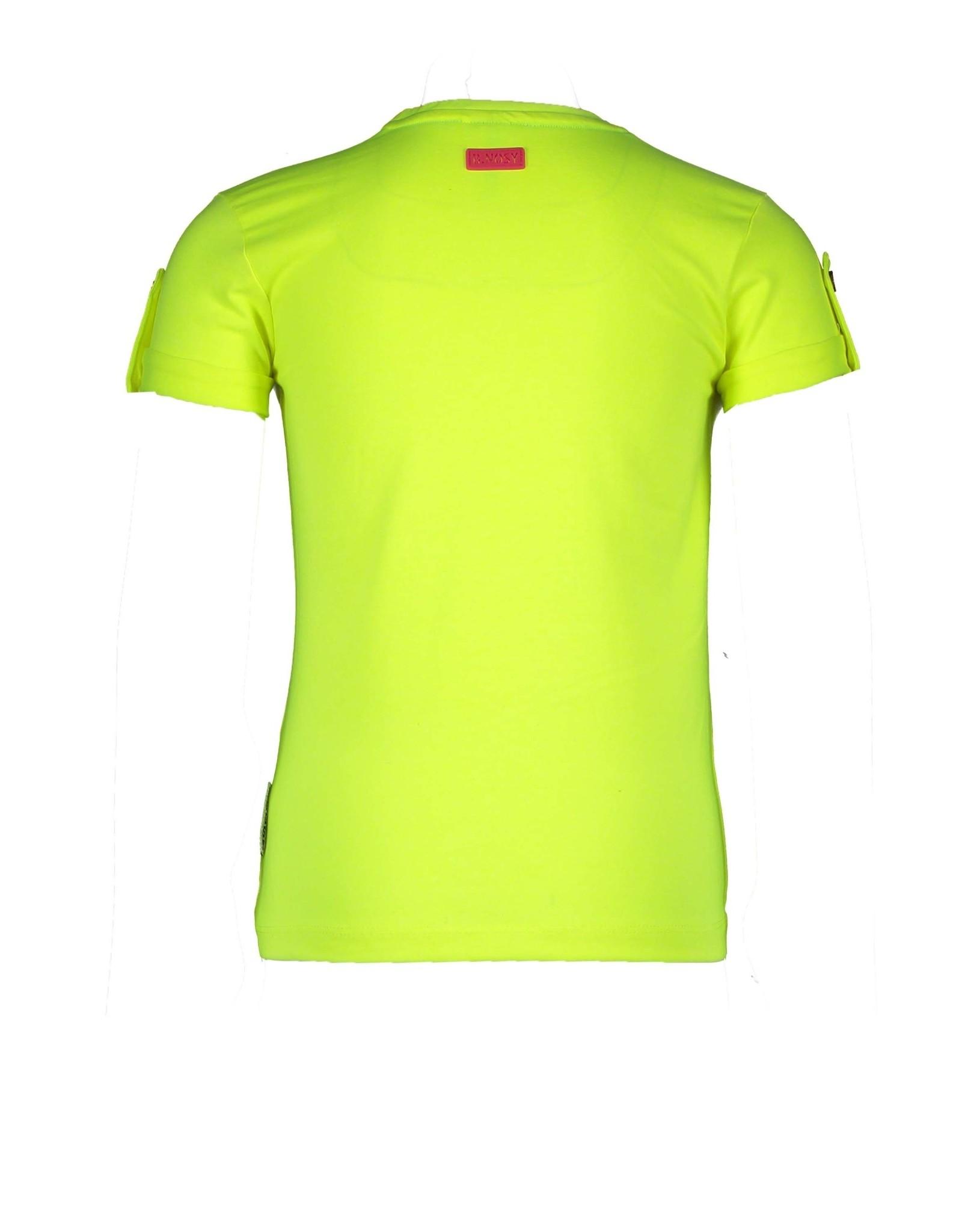 B.Nosy B.Nosy meisjes t-shirt met knoop en een B Safety Yellow