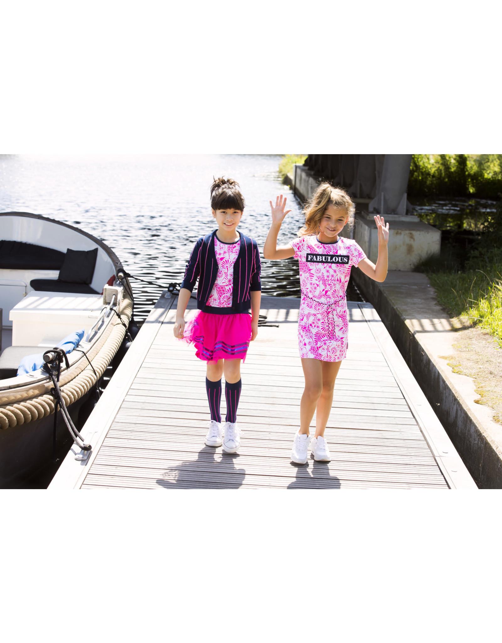 B.Nosy B.Nosy meisjes jurk met tulle rok Delfs Pink